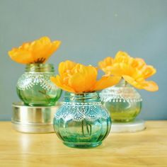 Gift Set of Round Jar Bud Vases or Candle Holders, Lightly Tinted Glass with Delicate Lace Detailing