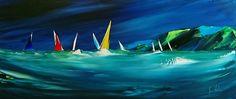 Regatta By Night - Acrylic on Canvas, 70x30cm