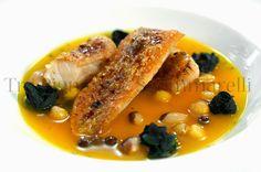Le mie ricette - Brodetto di pesce allo zafferano e finocchietto selvatico, con legumi misti, boccioli di cavolo nero e pesce brulèe | Tra pignatte e sgommarelli