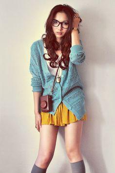 Cozy fall look: gray knee high socks + mustard skirt + turquoise cardigans