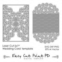 Boda invitación tarjeta de patrón de 5 x 7 por EasyCutPrintPD