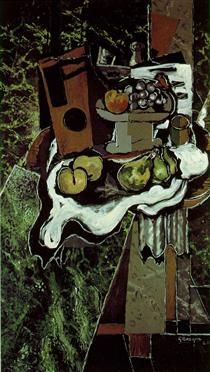 Fruit on a Tablecloth with a Fruitdish - Georges Braque