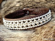 Swedish Viking Lapland Reindeer Leather Cuff ROSKVA Antique Brown Sami Bracelet with Sterling Silver Beads in Spun Pewter Braids by Tjekijas.