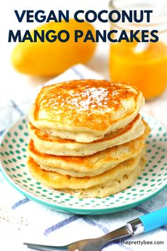 based diet before and after Vegan Coconut Mango Pancake Recipe Vegan Dessert Recipes, Vegan Breakfast Recipes, Vegan Recipes Easy, Brunch Recipes, Vegetarian Recipes, Whole Food Recipes, Cooking Recipes, Mango Recipes Vegan, Vegan Ideas