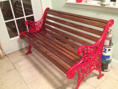 A vintage cast iron bench with a floral pattern that I have completely reclaimed and restored!