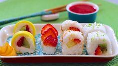 Fresh Fruit Sushi Dessert or healthy snack or breakfast (Vegan & Dairy-Free Recipe) - Gemma's Bigger Bolder Basking.