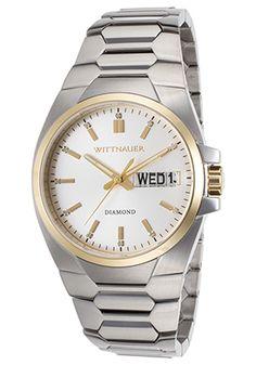 Wittnauer Stainless Steel Day & Date Silver Tone Diamond Dial Men's Watch Rolex Diamond Watch, Diamond Watches For Men, Vintage Watches For Men, Elegant Watches, Beautiful Watches, Silver Diamonds, Stainless Steel Bracelet, Luxury Watches, Gold Watch