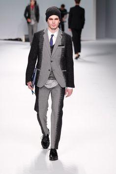 Frankie Morello Menswear F/W 2012, Milan Fashion Week. Two-tone/material suit