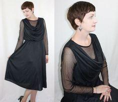 Vintage 1970's COCKTAIL DRESS Black Lace & by somethingborrowedvtg, $77.00