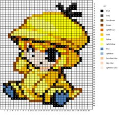 Moemon Psyduck Pattern cross stitch