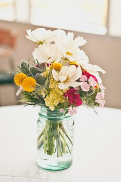 Browse our beautiful types of flowers by name, color or style. Find wholesale bulk flowers, flower vases and floral design supplies. Jar Centerpieces, Wedding Centerpieces, Wedding Table, Rustic Wedding, Wedding Decorations, Elegant Wedding, Centerpiece Ideas, Tulips Flowers, Wild Flowers