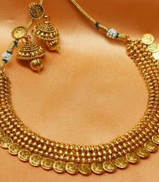 Buy gorgeous gold plated kasu necklace necklace-set online