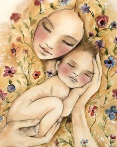 my new world art print by Claudia Tremblay Art And Illustration, Mother Art, Mother And Child, Claudia Tremblay, Art Amour, Inspiration Art, Art Mural, Oeuvre D'art, Ikon
