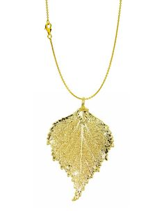 Real Leaf PENDANT with Chain BIRCH Dipped in 24K Yellow Gold Necklace
