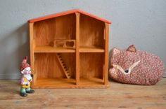 Maison de poupée jouet en bois Waldorf Montessori Steiner jouet d'imitation jeu libre vintage rétro bois massif