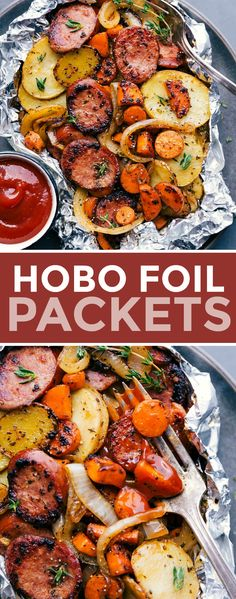 A twist on classic Hobo Foil Packets using sausage instead of ground beef and the standard carrots, onions, and thinly sliced potatoes. A truly comforting, filling, and hearty meal that's great for a no-mess meal or campfire dinner! #campingfood #forthegrill #ovens #meals #dinners #camping #sausage #hobo #foil #packets
