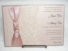 LUNA - 3 Glitter and Lace Wedding Invitations