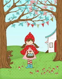 Little Red Riding Hood ilustración por alittlesweetness en Etsy, $20.00