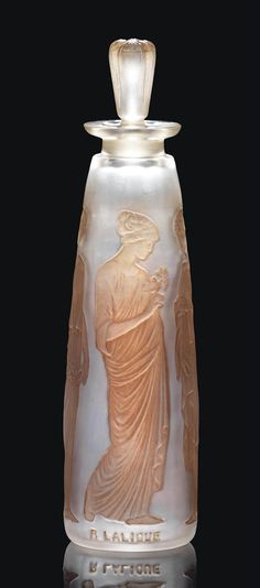 COTY - 3 AMBRE ANTIQUE SCENT BOTTLE designed 1910, clear, frosted and sepia stained, intaglio R. LALIQUE