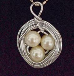 Bird Nest Beautiful Pearl Pendant Mother's Day by BlessMyNestShop, $25.00