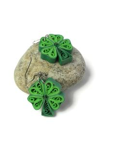 Four leaf clover earrings  St Patricks by Herpaperparadise on Etsy