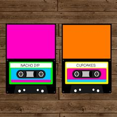 Totally 80s Retro Cassette-Inspired Food Label Tent Cards - DIY Printable.