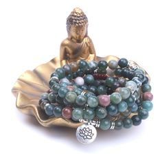 Onyx 108 bead Mala with Om, Lotus, and Buddha charm Zen Attitude, Indian Agate, Protection Stones, Healing Stones, Neutral Colors, Lotus, Charmed, Orange Yellow, Blue Green