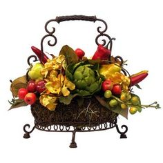 Silk pepper and mixed fruit arrangement.Product: Faux floral arrangementConstruction Material: Silk and plasticColor: Red, yellow and greenFeatures: Indoor useIncludes a basket of faux peppers, crab apples, artichokes, and pears Dimensions: H x W x D Artificial Floral Arrangements, Silk Floral Arrangements, Edible Arrangements, Fruit Centerpieces, Faux Flowers, Silk Flowers, Tuscan Decorating, Decorating Ideas, Decor Ideas