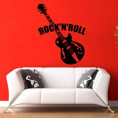 Vinyl Wall Decals Music Theme Guitar Rock and Roll от WisdomDecals