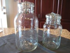 Vintage Atlas Half Gallon and Quart Canning Jar with Wire bail and lid by VaccarosVintageFinds on Etsy