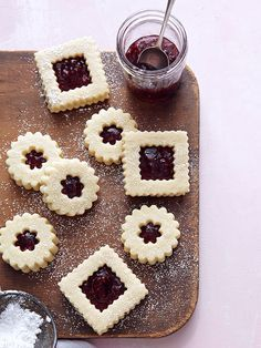 Ina Garten~ Linzer Cookies Makes 14 to 16 cookies ¾ lb. unsalted butter at room temperature 1 cup granulated sugar 1 tsp. pure vanilla extract cups all-purpose flour ¼ tsp. Christmas Desserts, Christmas Treats, Holiday Treats, Holiday Recipes, Cookie Desserts, Cookie Recipes, Dessert Recipes, Cookie Favors, Galletas Cookies