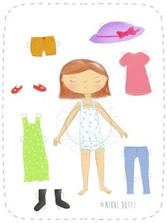 Dress up paper doll  digital  PDF by NikkiDotti on Etsy, €1.50