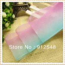 Envío libre 1-1/2 ''(38mm) de Fundido de Color Gradualmente Organza Wedding Party Cinta Escarpada Favorecer Decoración artesanía, 9830(China (Mainland))