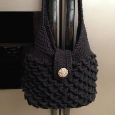 Black Crocodile Stitch Purse by HandmadeByMeAndDee on Etsy