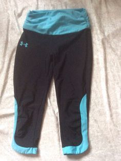 Under Armour Xs Running Tights Crops Cropped Womens Black Turquoise