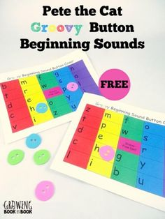 Pete the Cat Activities:  Groovy Button Beginning Sounds fun from growingbookbybook.com