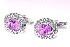Latest Exclusive 925 Sterling Silver Natural Amethyst Men's New Cufflinks