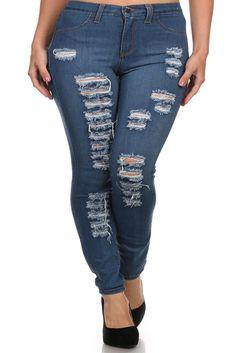 41801f26e0c82 Plus Size High Waist Ripped Denim Jeans – PLUSSIZEFIX Plus Size Designers