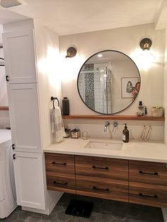 How to Finish Your Basement and Basement Remodeling – House Remodel HQ Diy Bathroom Decor, Modern Bathroom, Small Bathroom, Diy Home Decor, Bathroom Ideas, Bathroom Vanity Drawers, Cottage Bath, Basement Bar Designs, Basement Renovations