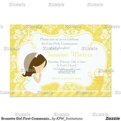 Shop Brunette Girl First Communion Damask Invitation created by KPW_Invitations. Boys First Communion, Christian Holidays, Holy Communion Invitations, African American Girl, Brunette Girl, Create Your Own Invitations, Zazzle Invitations, Damask, Popular