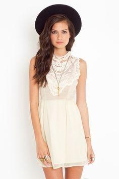 Emme Crochet Dress - Cream - StyleSays