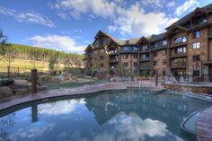 Poolside relaxing with mountain views. #Breckenridge #GrandLodgeonPeak7