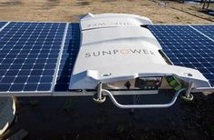 SunPower uses robots to clean solar panels in order to cut water use and lower the labor cost. Solar Energy, Solar Power, Renewable Energy, Survival Gear, Survival Skills, Sustainable Energy, Marketing Communications, Wind Power, Electrical Engineering