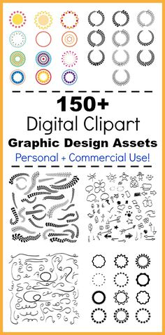 150+ Digital Clipart Graphic Design Assets- These 150+ vector clipart files include leaf wreaths, laurels, circle frames, doodle arrows, flourishes, leaf swirls, and more! Use them to make your own printable wall art, do scrapbooking, enhance your website, create stickers, embellish typography, and anything else you can imagine! | vector clipart, AI files, EPS files, PNG files, 300 dpi, high-resolution clip art, graphic design elements, personal + commercial use permitted, black and white