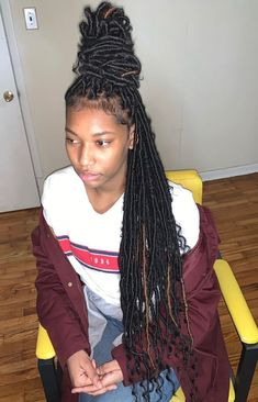 The Black Braids are now popular and you can look not far off from at every the Black Girl Braided Hairstyles, Faux Locs Hairstyles, Black Girl Braids, Baddie Hairstyles, Braids For Black Hair, My Hairstyle, Short Hairstyles, College Hairstyles, Drawing Hairstyles