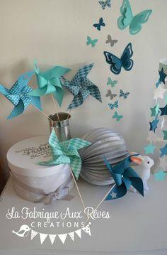 décoration chambre bébé étoiles moulins à vent papillons turquoise ...