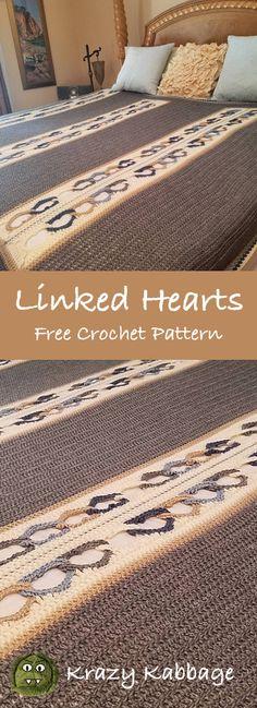 Linked Hearts Free Crochet Pattern – Krazykabbage #freepattern #crochet #hearts #valentine #heartsblanket #love #blanket