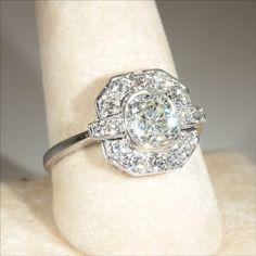 Vintage Art Deco 2.4ctw Diamond Ring in 18k Gold & Platinum