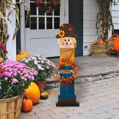 """If you're looking for a gorgeous addition to your porch, look no further than this welcoming scarecrow. This happy fellow holds an LED lighted WELCOME wreath. From Glitzhome • Dimensions: 11.73"""" L x 5.2"""" W x 42.13"""" H • 20 LEDs with warm white light • 2 AA batteries required, not included • Wreath is removable Welcome Wreath, Porch Welcome Sign, Welcome Fall, Autumn Lights, Thanksgiving Inflatables, Holiday Fun, Holiday Gifts, Porch Decorating, Porch Signs"""
