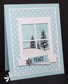 stampercamper.com - The Create with Connie and Mary Design Team Saturday Blog Hop was Christmas - Anything Goes.  I really love the peaceful scene you can create with the Happy Scenes set and the window frame.  All the details and to start the hop on my blog.  Set:  Happy Scenes